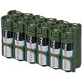 PowerPax Rangement pour 12piles AA Caddy–Vert militaire