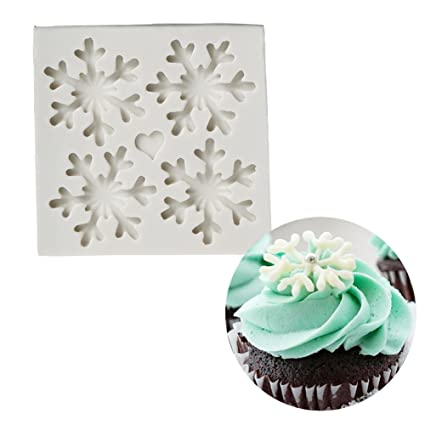 3d christmas theme silicone fondant mold snowflake suger cake molds chocolate cake decoration mold style - Christmas Cake Decorations Amazon