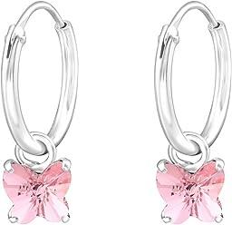 SL-Silver Ohrringe Creolen kleiner Schmetterling Kristall 925 Silber in Geschenkbox