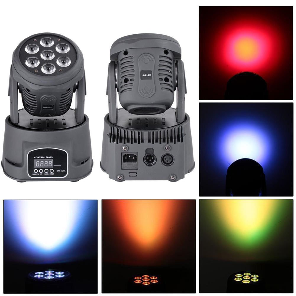 Moving beam Stage Light, Auto Effect LED RGBW Sound Control Activated DMX Master Slave Mini Flat Background 4in1 7 x 10W Moving Head Light,Party DJ KTV Disco Club Bar Par Wedding Concert Lifego by Lifego
