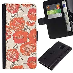 KingStore / Leather Etui en cuir / Samsung Galaxy Note 4 IV / Modelo rosado Flores tela de materia textil
