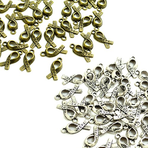 (BronaGrand 100pcs Hope Breast Cancer Awareness Ribbon Alloy Charms Pendants DIY for Necklaces Bracelets, Antiqued Silver and Bronze)