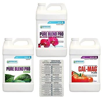 Botanicare 3 Pack Bundle: Pure Blend Pro crecer, Pro Bloom suelo fórmula & Cal