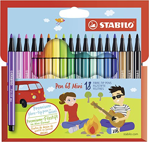 Stabilo 68 Mini Fineliner Pens  , Set of 18 , Multicolored