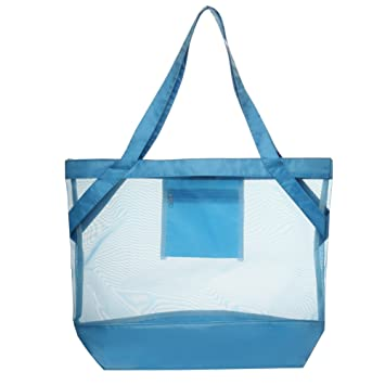Amazon.com: Transparent Tropical Beach Body Mesh Tote Bag (Blue ...