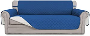 Easy-Going Sofa Slipcover Reversible Sofa Cover Water Resistant Couch Cover with Foam Sticks Elastic Straps Furniture Protector for PetsKidsChildrenDogCat(Sofa,Blue/Ivory)