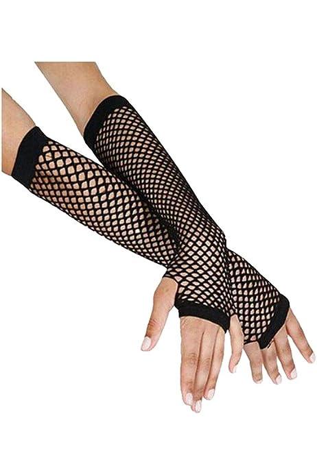 Black Mesh Fishnet Fingerless Gloves 1980/'s Rave Disco Long Elbow