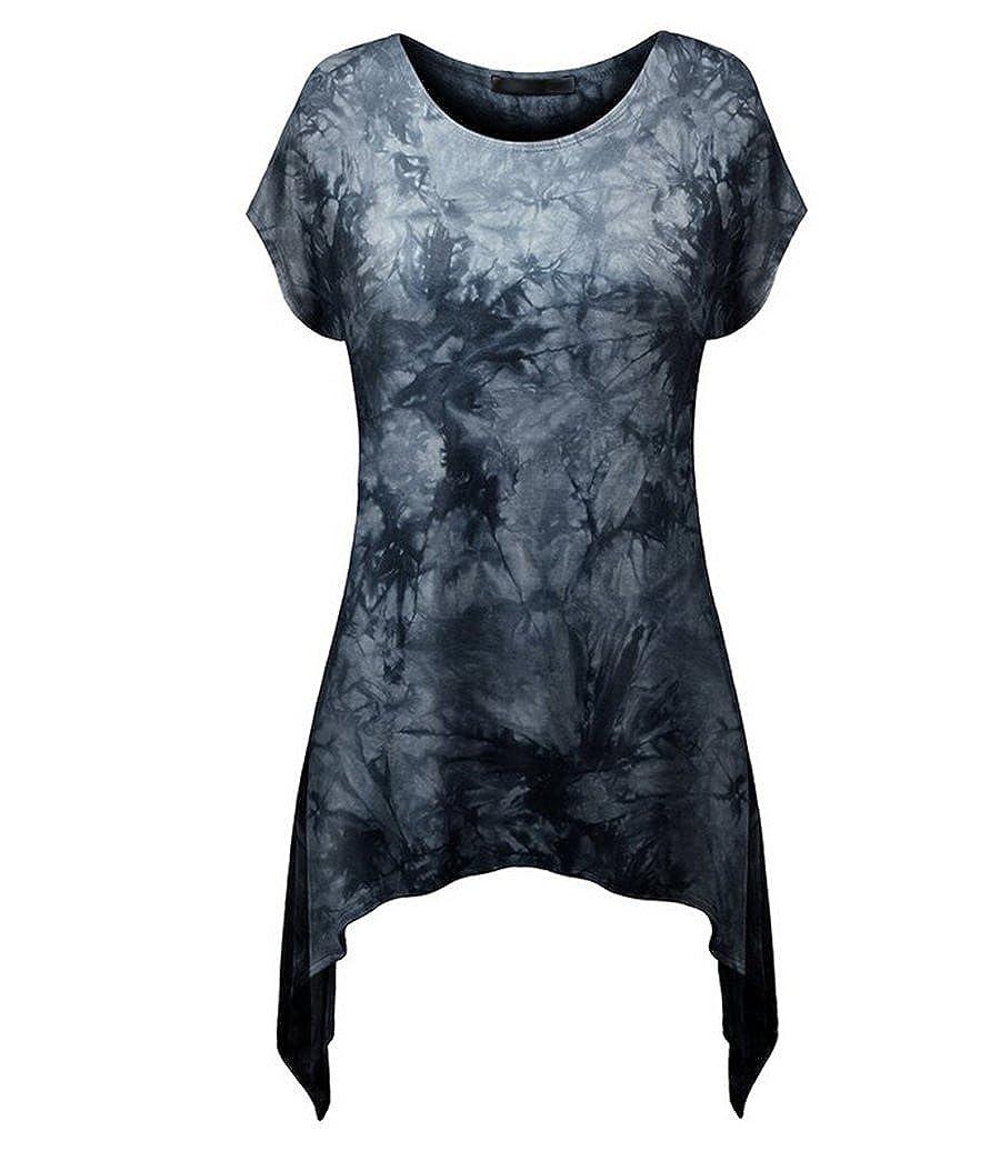 NiSeng Donna Casual Slim Fit Stampa Collo Rotondo Manica Corta T-Shirt Camicia Maglietta Lunga Orlo Irregolare Tunica