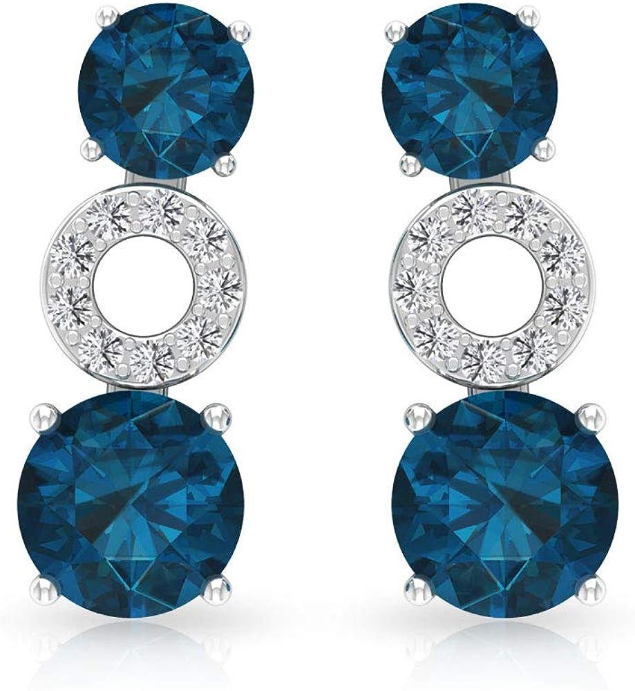 Aretes de cristal de topacio azul de 0,78 ct, pendientes de cartílago de piedra preciosa, IGI certificado de diamante IJ-SI Crawler, pendientes apilables de dama de honor, tornillo hacia atrás