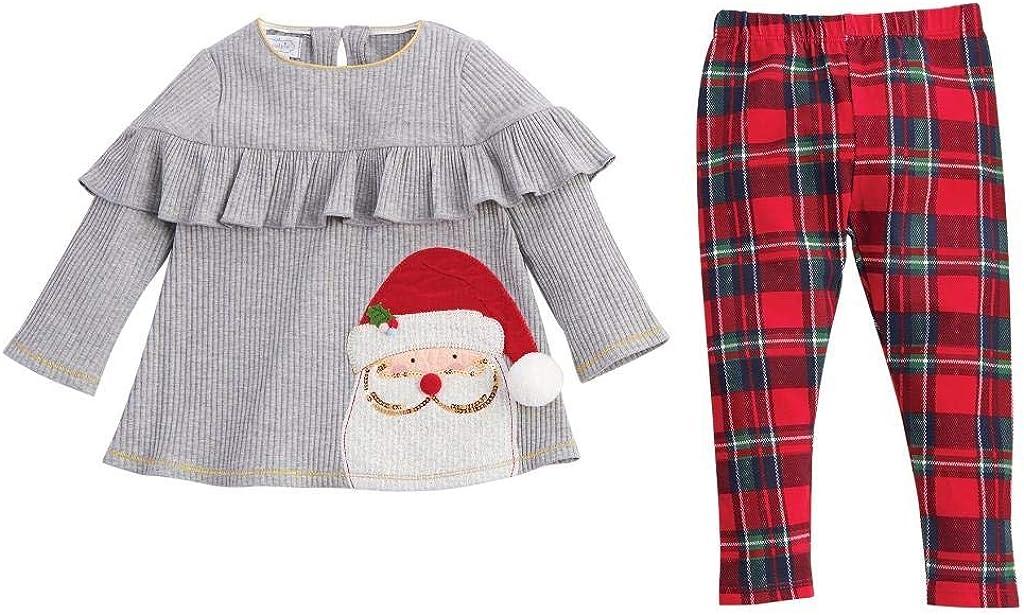 Mud Pie Kids Girls Christmas Ruffle Santa Top with Tartan Plaid Legging Set