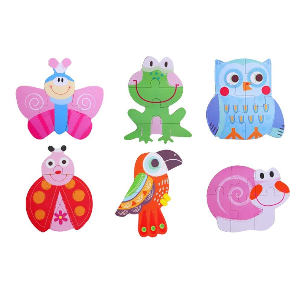 Toyvian 木製ジグソーパズル 動物 昆虫パターン ペグパズル おもちゃ 知育玩具 幼児 赤ちゃん 子供用   B07PN9GC3K