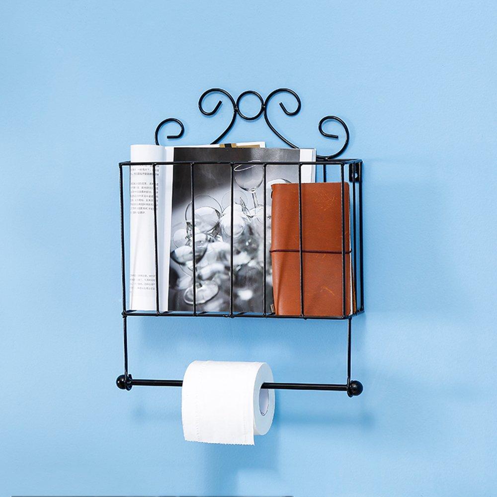 32 x 10 x 40 cm Magazine Rack Creative Jardin fer Journal de fixation murale de salle de bain Porte rouleau pour papier toilette Porte-serviettes /étag/ère de cuisine Noir m/étal