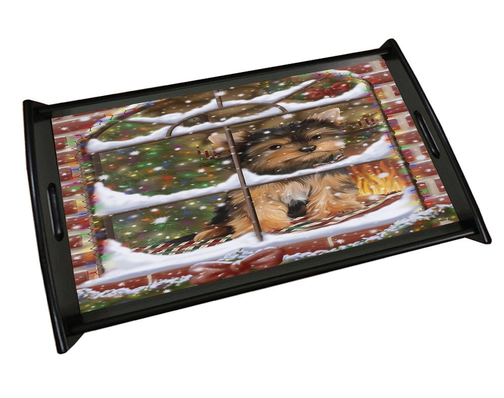 Please Come Home For Christmas Yorkshire Terriers Sitting In Window Black Wood Serving Tray