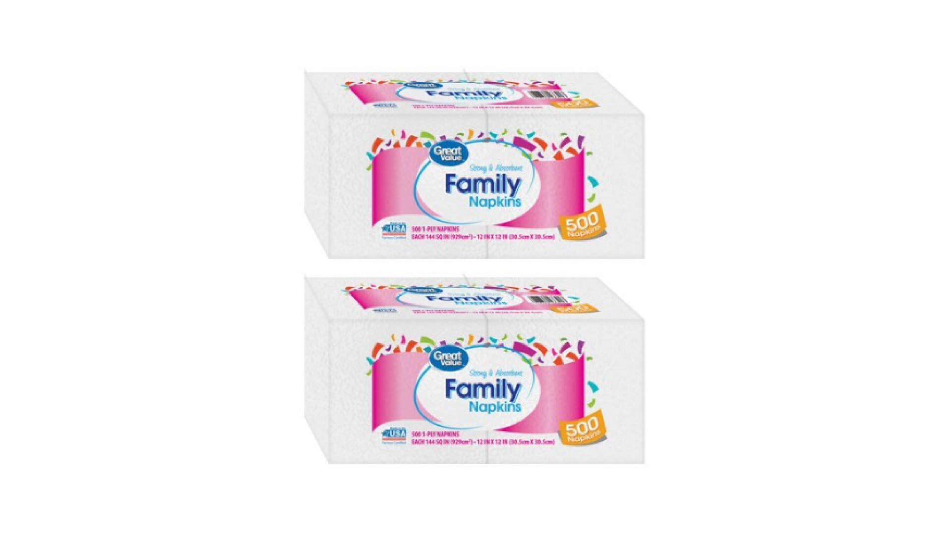 Great Value Strong and Absorbent 12 in X 12 in White 1-ply Family Napkins,2-Box of 500 Count