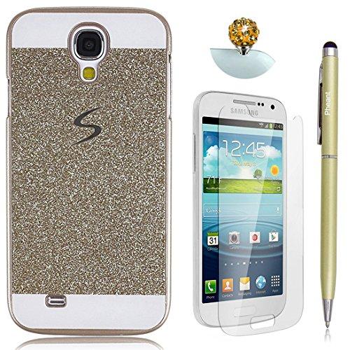 Pheant® [4 in 1] Samsung Galaxy S4 Hülle Glitzer Schutzhülle Schale Handyhülle mit Glas Schutzfolie Eingabestift und Staub Stecker(Gold)
