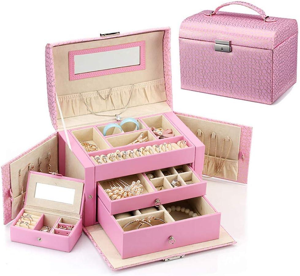 LUNAH Caja de Almacenamiento de Joyas Caja de joyería de Belleza Mediana Organizador de joyería de Cuero de imitación con Regalo de Espejo para Mujer Caja de Almacenamiento de exhibición de joyerí: