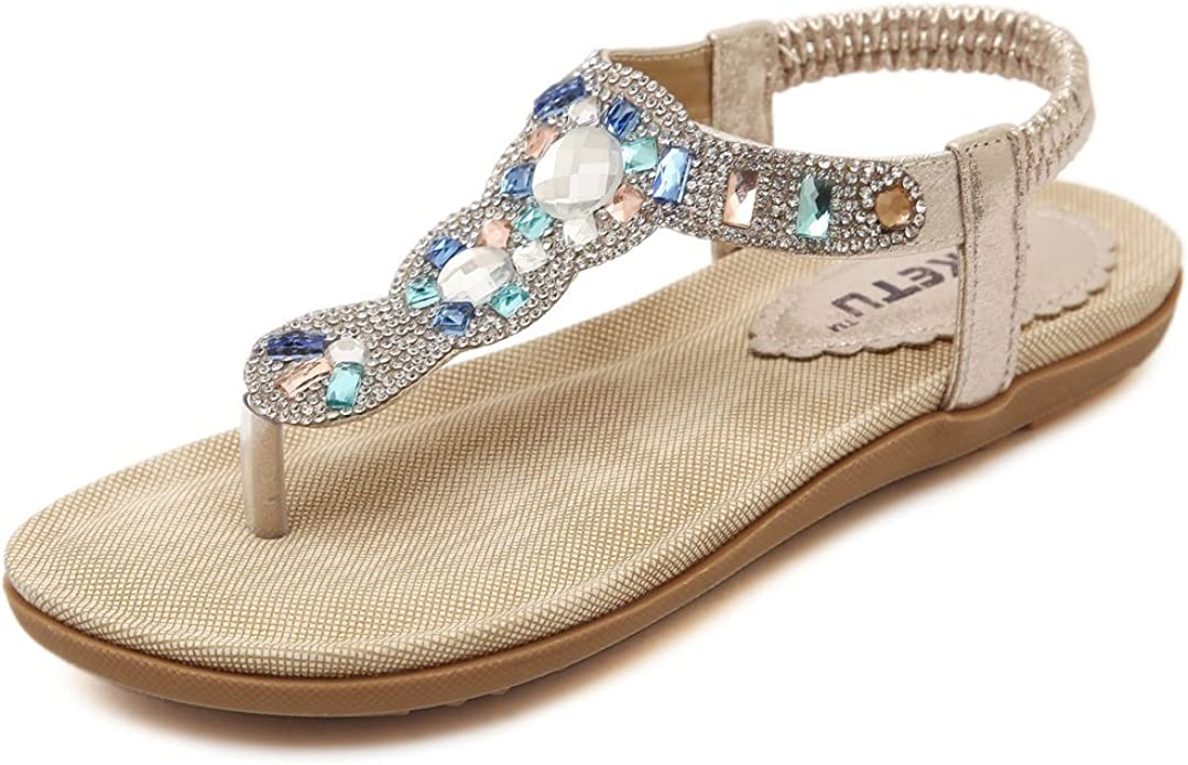 New Girls T-Strap Thong Gladiator Rhinestone Flat Flip Flop Summer Sandals 10-4