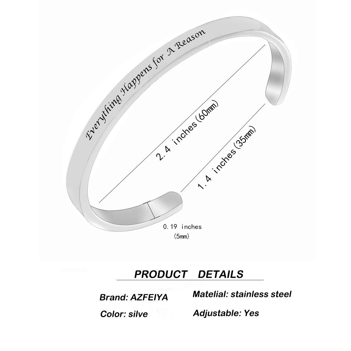 AZFEIYA Inspirational Bracelet Confidence Jewelry Motivational Cuff Bracelet Everything Happens for a Reason Encouragement Bracelet Personalized Birthday Gift (Silver Bracelet) by AZFEIYA (Image #2)