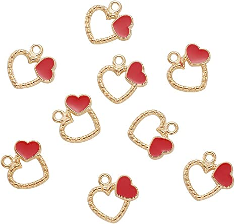 10Pcs//Set Enamel Alloy Cat Love Heart Charms Pendant Jewelry DIY Making Craft VI