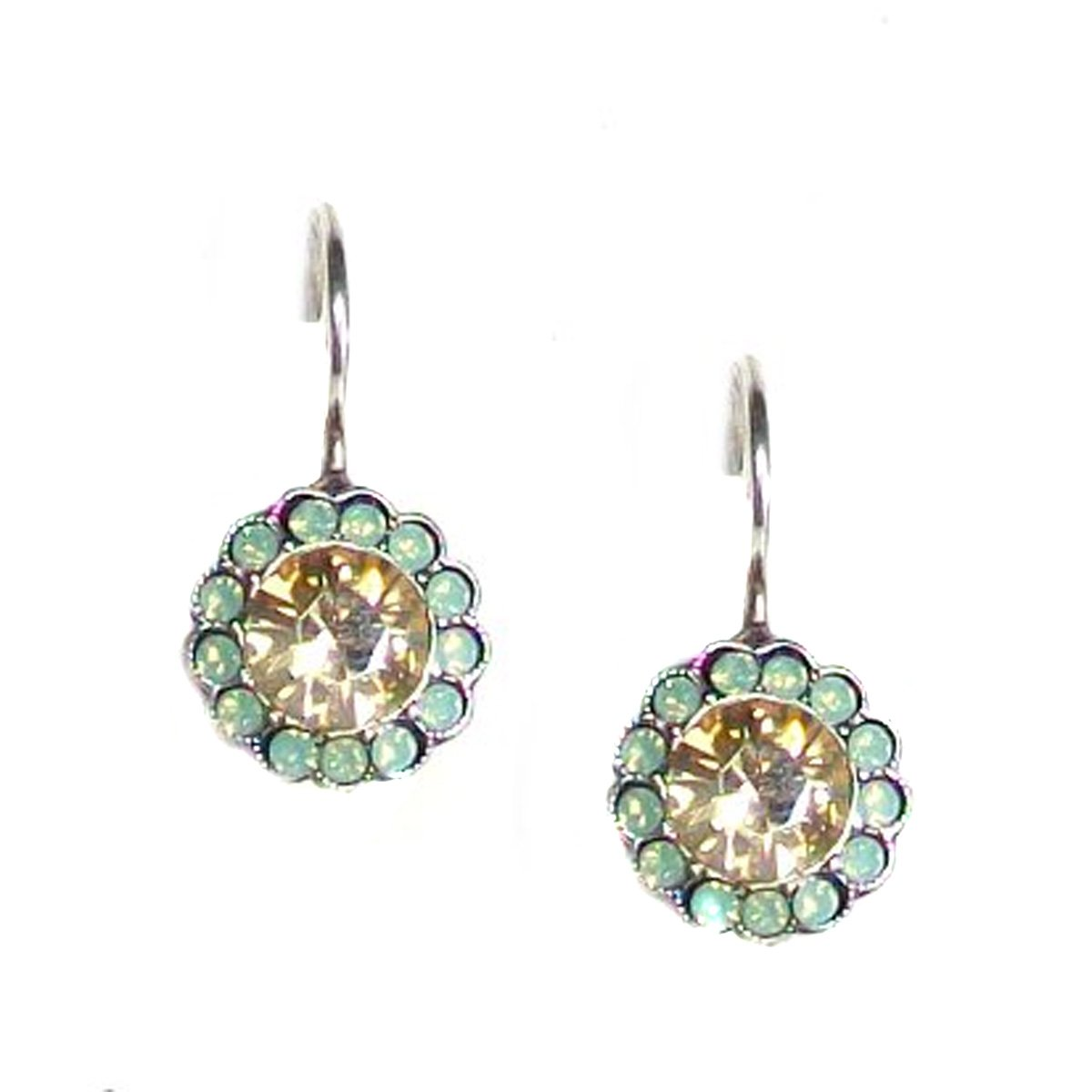 Mariana Morning Glory Antique Silver Plated Swarovski Crystal Drop Earrings