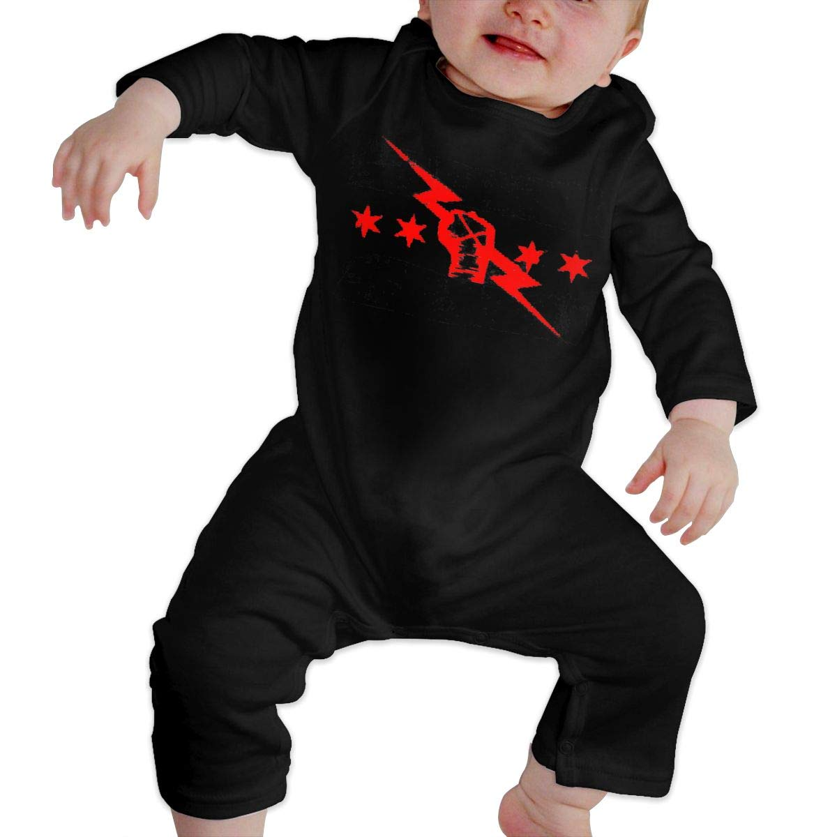 cm Punk Best in The World Kids Baby Unisex Cotton Cute Long Sleeve Hooded Romper Jumpsuit Baby Crawler Clothes Black