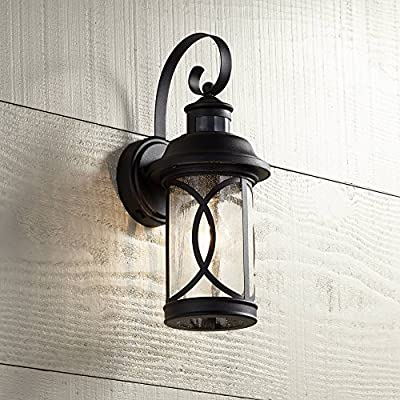 """Capistrano Outdoor Wall Light Fixture LED Black Hanging 12.75"""" Motion Security Sensor Dusk to Dawn for House Deck Patio Porch - John Timberland"""