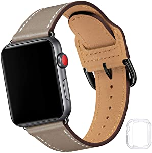 Compatible with Apple Watch Band 38mm 40mm 42mm 44mm, Soft Leather Watch Band Replacement Strap for iWatch SE Series 6 5 4 3 2 1 (Taupe with Black, 42MM/44MM)