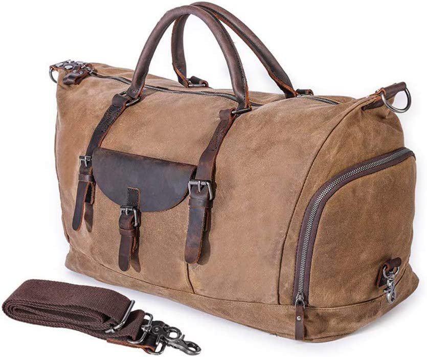 Oversized Travel Duffel Bag Large Canvas Sports Hand Bag Vintage Weekender Luggage Bag Overnight Carryon Tote Shoulder Bag Khaki