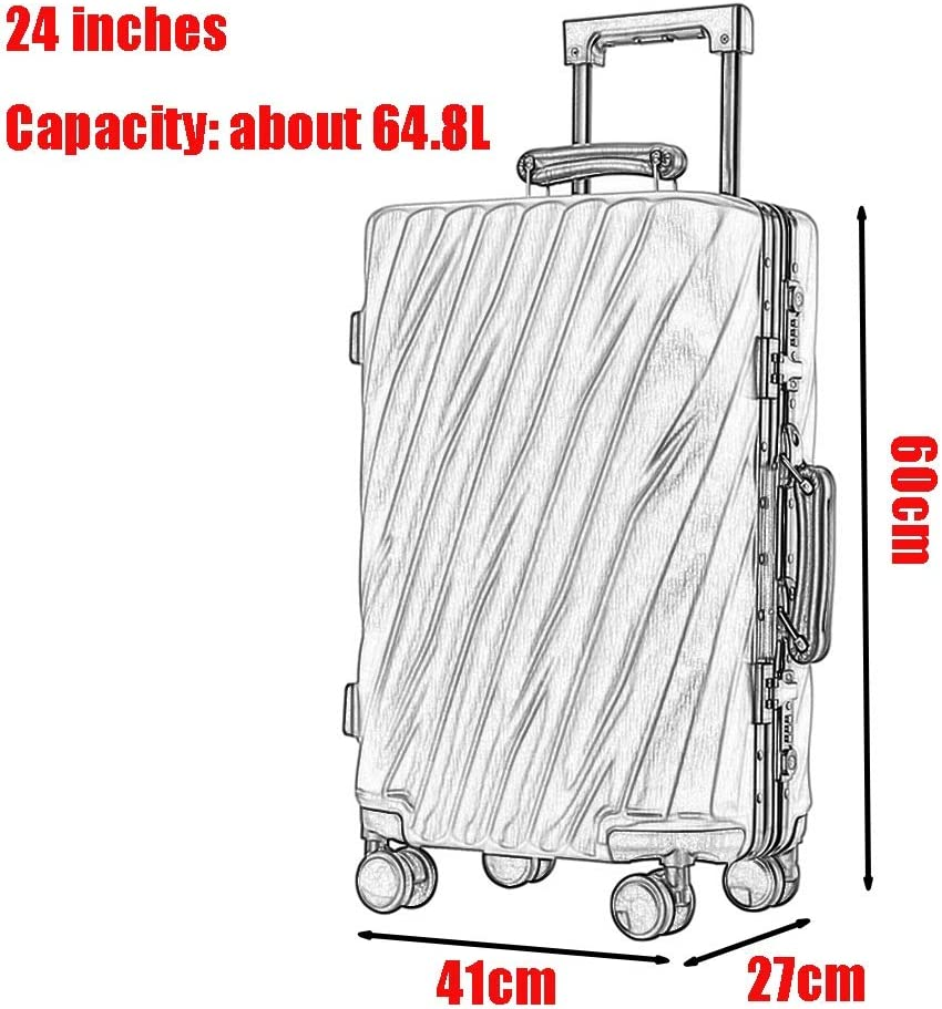 Color : Black, Size : 24 inches 20 inches, 24 inches, 26 inches, 28 inches Z/&YY Aluminum Frame Trolley case Caster Luggage for Men and Women Boarding The Chassis