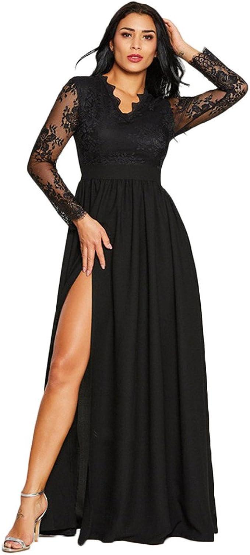 YAM DER Damen Spitzenkleid V Ausschnitt Kleid Dünnes Abendkleider