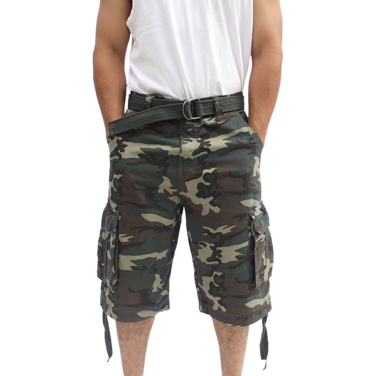 La Gate Mens Big and Tall Belted up to size 50 Cargo Short (38, Green Camo)