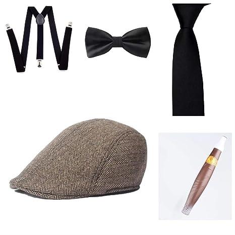 thematys® Sombrero mafioso Al Capone + Pajarita + Tirantes + ...