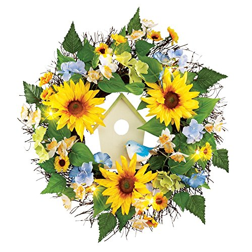 Sunflowers and Blue Flowers Wreath