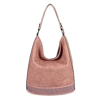 a91cbced94521 OBC Damen Tasche Shopper Hobo-Bag Handtasche Nieten Schultertasche  Umhängetasche Leder Optik Henkeltasche Beuteltasche Bowling