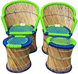 Ecowoodies Arbutus Eco Friendly Handicraft Cane Pub High Chair Garage Living Room Home Kitchen Counter Indoor/Outdoor Furniture Set( 2 Chair+2 Stool)