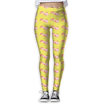294a44303da91 Ninena Chy Axolotl In Yellow Womens Active Yoga Leggings Patterned Workout  Leggings Jogger Pants For Gym