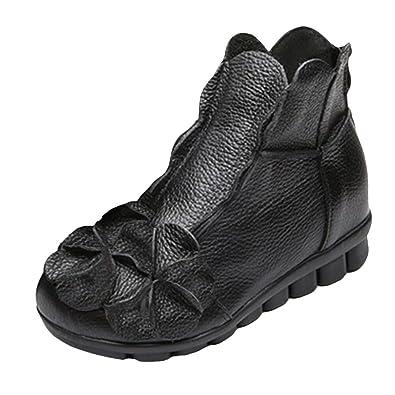 Vogstyle Damen Neu Weinlese Handgemachtes Echtes Leder Ebene Schuhe Art 2 Schwarz EU39/CH40 g6UpJjgY