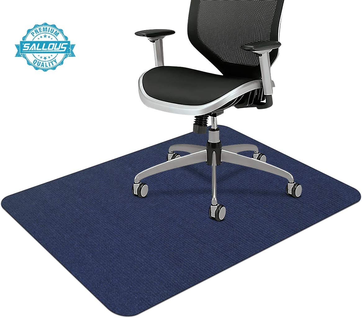 "Office Chair Mat, Upgraded Version - Office Desk Chair Mat for Hardwood Floors, 1/6"" Thick 55""x35"" Hard Floor Protector Mat, Multi-Purpose Chair Carpet for Home (Dark Blue)"