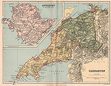 CARNARVONSHIRE INSET MAP OF ANGLESEY Antique county map Wales