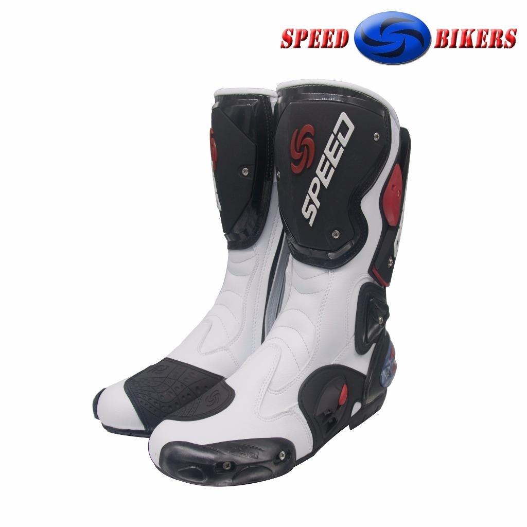 Speed motards Bottes de moto Blanc Armour /étanche Cuir Sports Chaussures de course tous les Taille