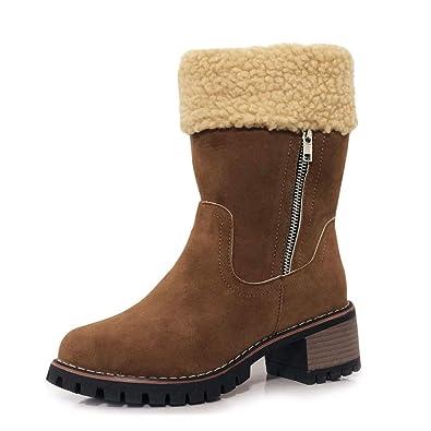 OHQ Kniehohe Stiefel Damen mit Absatz Winter Gefüttert Für
