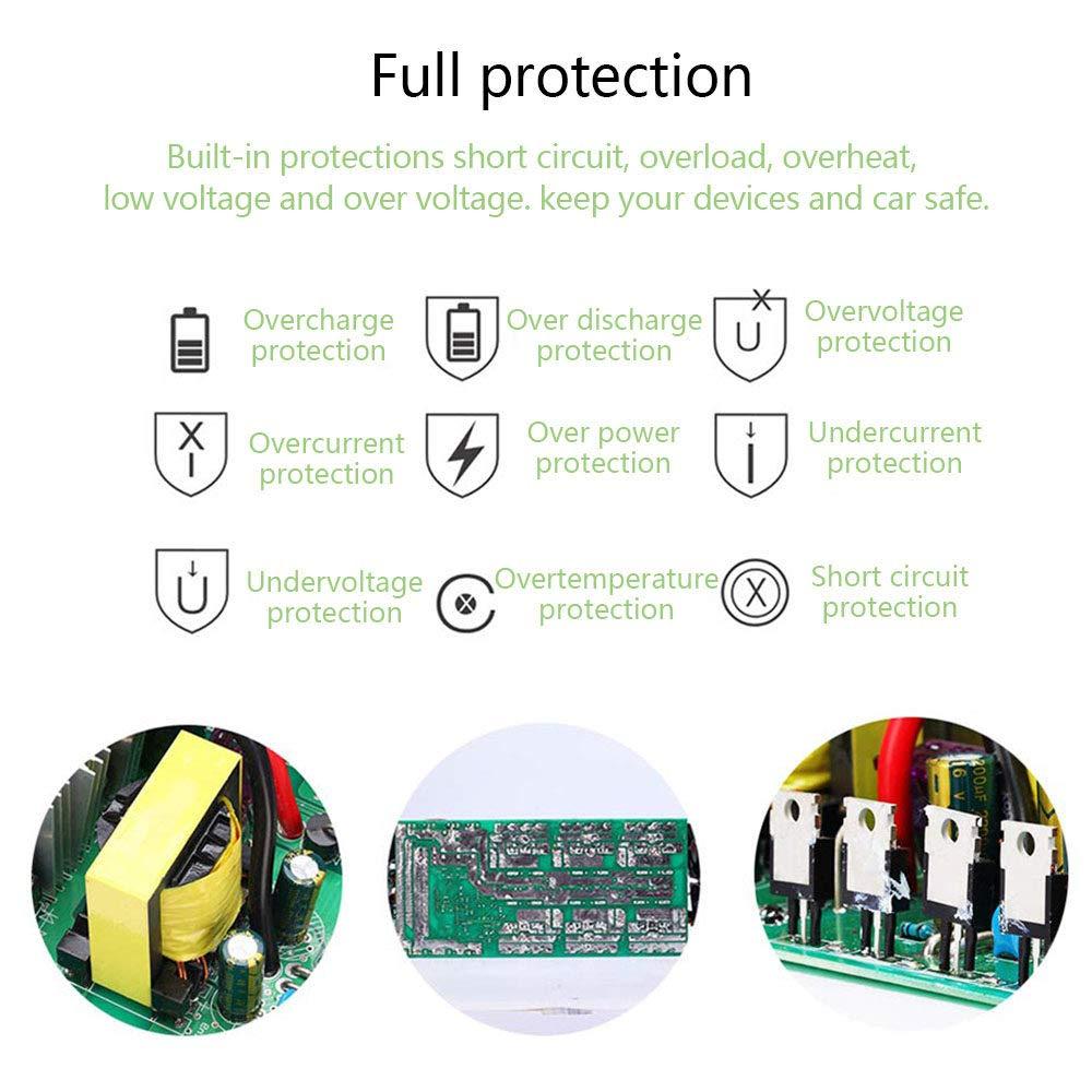 LIMEID Wechselrichter 600W 1200W 2000W Spannungswandler Dc 12//24 V Auf Ac 220V 230V 240V Kfz-Wechselrichter Mit Steuerbarer Schalter USB-Anschluss LCD-Anzeige,1200v-12Vto110V