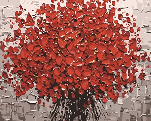 Komking DIY Paint by Number Kits for Adults, Paintworks Paint by Number on Canvas Painting - Red Flower 16x20inch