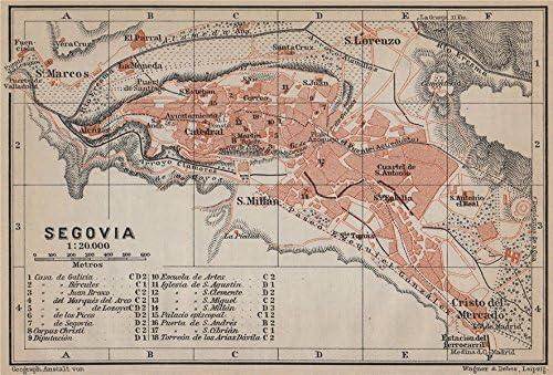 Segovia Antiguo Town City Ciudad Plan. España Mapa. Baedeker ...