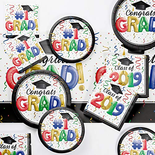 #1 Grad 2019 Deluxe Party Supplies Kit, Serves 18 ()