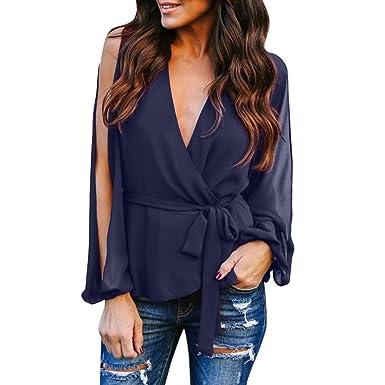 57c85613f8dfc9 Women s V Neck T Shirt Long Sleeve Side Split Front Tie Knot Casual Blouse  Tops (