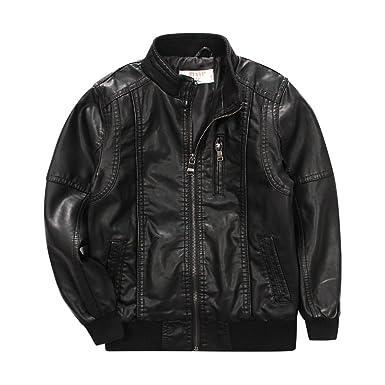f8da4a005c68 Amazon.com  LJYH Boys Classic Stand-Collar Faux Leather Moto Biker ...