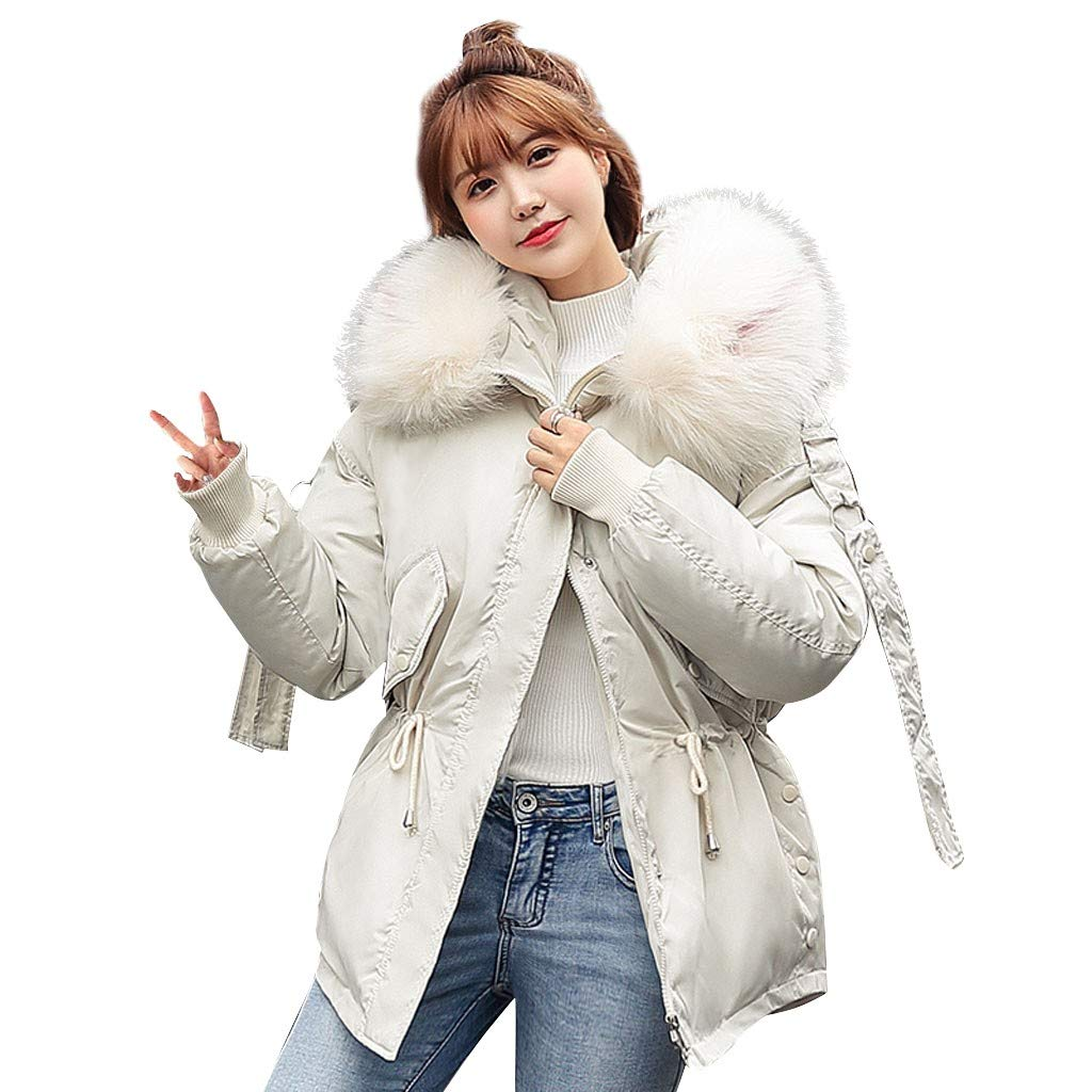 Opinionated Womens Thickened Parka Coat with Removable Fur Hood Warm Coats Parkas with Faux Fur Jackets Beige by Opinionated