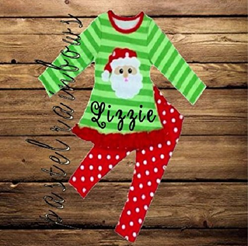 SHIPS FAST-Girls Monogrammed Christmas Outfit-Santa Outfit-SHIPS FAST by Pastel Rainbows