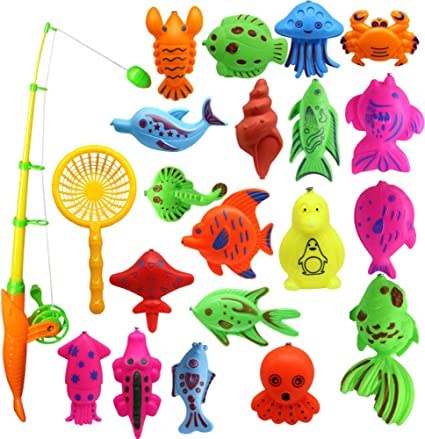Bath Toy 22pcs Colorful Magnetic Fishing Toy Floating Fish Toy Set Includes a Fishing Rod and a Fish Net for Boys Girls Toddlers Kids Bathtub Fun Time